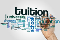 Tuition word cloud stock photo