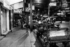 Tuk Tuk Car waiting for customer. Tuk Tuk car is parking on the street and waiting for customer in Bangkok Stock Photo