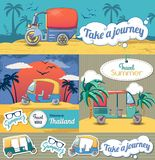 Tuk rickshaw Thailand banner set, cartoon style. Tuk rickshaw Thailand banner concept set. Cartoon illustration of 4 tuk rickshaw Thailand vector banner stock illustration