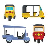 Tuk rickshaw Thailand icons set flat style. Tuk rickshaw Thailand icons set. Flat illustration of 4 tuk rickshaw Thailand icons for web stock illustration