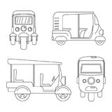 Tuk rickshaw Thailand icons set, outline style. Tuk rickshaw Thailand icons set. Outline illustration of 4 tuk rickshaw Thailand icons for web royalty free illustration