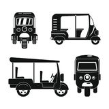 Tuk rickshaw Thailand icons set, simple style. Tuk rickshaw Thailand icons set. Simple illustration of 4 tuk rickshaw Thailand icons for web royalty free illustration