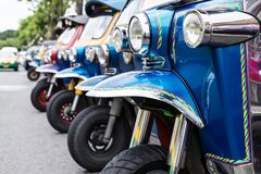 Tuk Tuk, Thaise traditionele taxi stock fotografie
