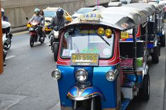 TUK TUK在街市曼谷 库存图片