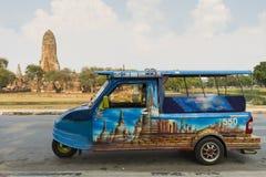 Tuk Tuk är medlet för turist i historiska Ayutthaya parkerar Royaltyfria Bilder