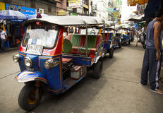 Tuk tuk. Tuktuk waiting for clients in kao shan street Royalty Free Stock Photography