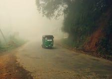 Tuk-tuk asiatique en brouillard de matin Images stock