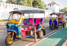 Tuk-Tuk:Bandkok Taxi_3. Color full Tuk-Tuk near bangkok grand palace Stock Photo