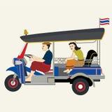 Tuk Tuk car / Thai taxi. Three wheels car, tuk tuk, Thai taxi, Bangkok Thailand - vector illustration royalty free illustration