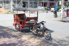 Tuk tuk on the city street, Kampot, Cambodia Royalty Free Stock Photos