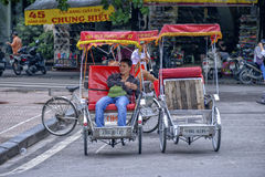 Tuk tuk cyclo driver in Hanoi, Vietnam Royalty Free Stock Photography