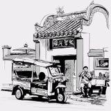 Tuk tuk driver eating at the door of a chinese temple in Bangkok royalty free illustration