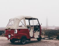 Tuk-tuk in fog at cabo da roca stock photos