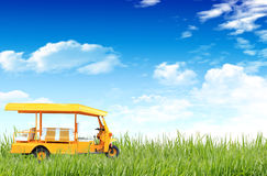 Tuk-tuk on the grass field Stock Images