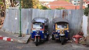 Tuk-tuk moto出租汽车在曼谷 免版税库存照片