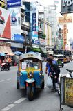 Tuk-tuk moto taxi on the street in the Chinatown area in Bangkok Stock Photos