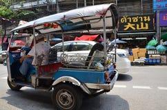 Tuk-tuk moto taxi on the street in the Chinatown area in Bangkok Stock Photos