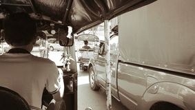 Tuk Tuk. Old street city transport traffic jam Stock Photos