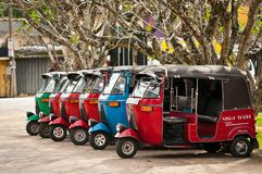 Tuk-tuk is a popular asian transport as taxi. Royalty Free Stock Image