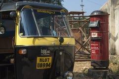 Tuk Tuk and Post Box in Cochin, Royalty Free Stock Image