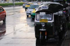 Tuk-tuk in the rain. Royalty Free Stock Photography