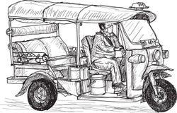 Tuk-tuk skech, Traditional motor tricycle for transportation  Stock Image