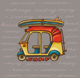 Tuk tuk with surfboards. Surfing trip. Royalty Free Stock Photos
