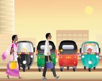 Tuk tuk taxi park Stock Image