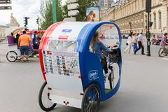 Tuk tuk taxi transports  in Paris Royalty Free Stock Images