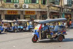 Tuk tuk taxis in bangkok thailand Royalty Free Stock Images
