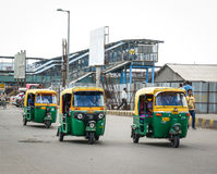 Tuk tuk taxis on street in Delhi, India Royalty Free Stock Photography