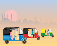 Tuk tuk traffic. An illustration of three colorful asian tuk tuks racing along in a dusty urban setting in the evening at sunset Stock Images