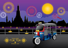 TUK TUK. Vector illustration  background sky  Thailand Bangkok night season fireworks Royalty Free Stock Image