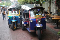 Tuk Tuks在曼谷,泰国 库存图片