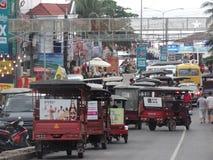 Tuk-tuks в Sihanoukville, Камбодже Стоковое Фото