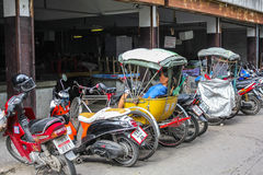 Tuk tuks and motorbikes in Thailand Stock Images