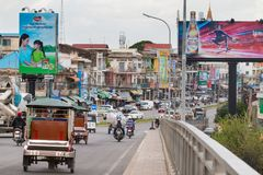 Traffic Crossing a Bridge in Phnom Penh, Cambodia royalty free stock photos