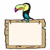 Tukan bird and wood banner. And white background Stock Photos