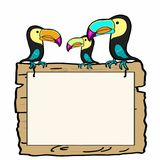 Tukan birds and wood banner. And white background Stock Photography