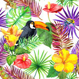 Tukan gecko, tropiska sidor, exotiska blommor seamless djungelmodell vattenfärg Royaltyfri Fotografi
