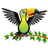Tukanfågelsammanträde på vicker royaltyfri illustrationer