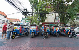 Tuktuk drivers waiting for clients Royalty Free Stock Photos