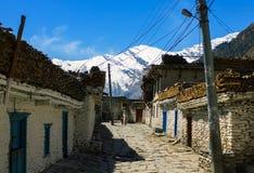 Tukuche村庄,安纳布尔纳峰艰苦跋涉,尼泊尔 免版税库存图片
