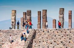 Tula de Allende, Mexico - November 12, 2010. Pyramids with prehispanic giants statues. On the top royalty free stock photos