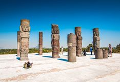 Tula de Allende, Mexico - November 12, 2010. Pyramids with prehispanic giants statues. On the top stock image