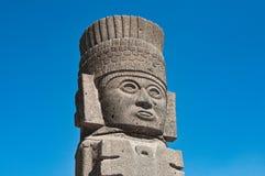 Tula de Allende, Mexico - November 12, 2010. Pyramids with prehispanic giants statues. On the top stock photo