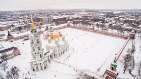 Tula Kremlin in winter aerial view 05.01.2017 Royalty Free Stock Photos