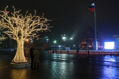 Tula, nuovo anno 2018 sul quadrato di Lienin Fotografia Stock Libera da Diritti