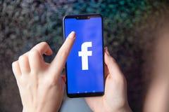 Tula Rosja, Listopad, - 28, 2018: Facebook app ogólnospołeczny medialny logo na nazwie użytkownikiej, w górę rejestracyjnej stron zdjęcie stock