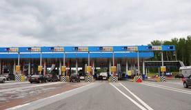 TULA, RUSLAND - 20 05 2015 De betalingspunten op weg M4 trekken aan Royalty-vrije Stock Afbeelding